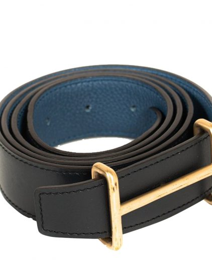 Hermes Black Blue Leather Idem Reversible Belt 32 Inch