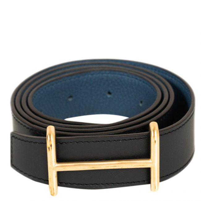 Hermes Black Blue Leather Idem Reversible Belt 32 Inch