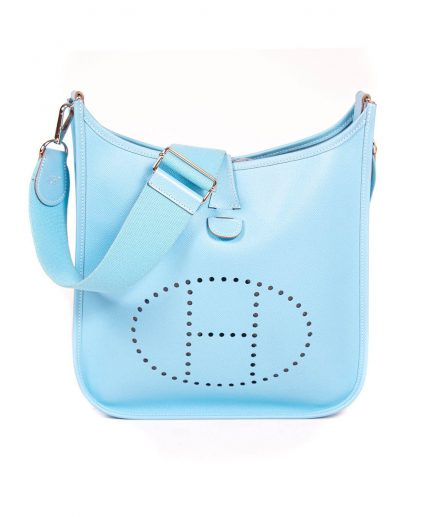 Hermes Sky Blue Epsom Leather Evelyne III Handbag