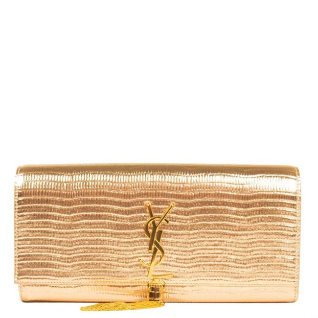 Saint Laurent Gold Embossed Leather Monogram Kate Tassel Clutch