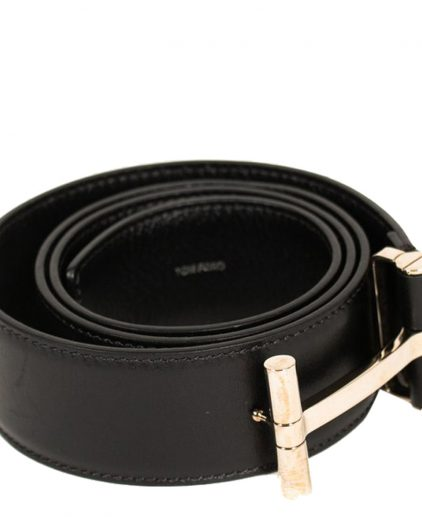 Tom Ford Black Leather T Buckle Belt 34 Inch