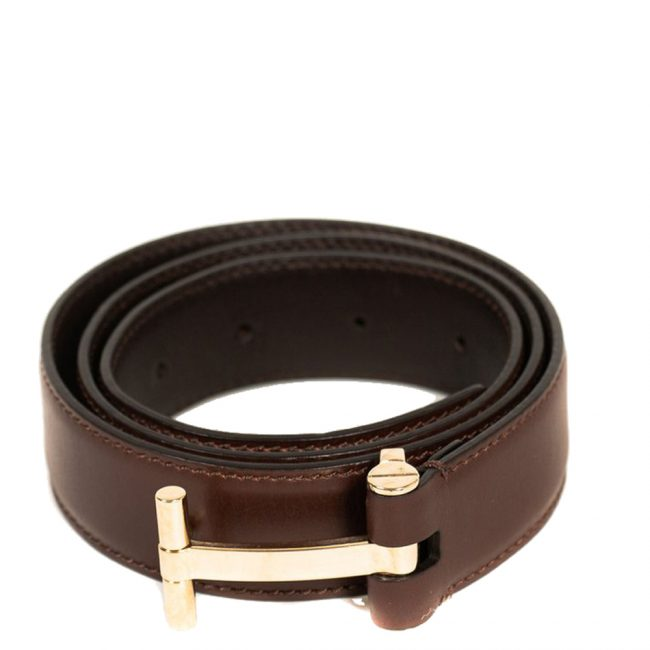 Tom Ford Brown Leather T Buckle Belt 32 Inch