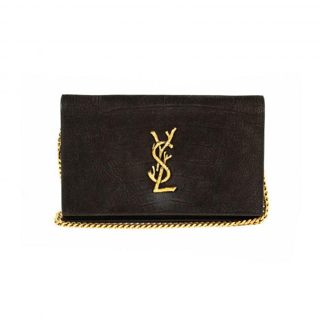 Saint Laurent Black Croc Embossed Suede Monogram Kate Bag