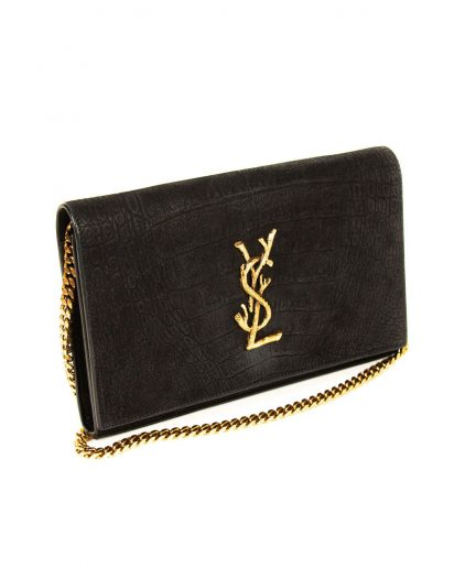 Saint Laurent Black Croc Embossed Suede Monogram Kate Bag