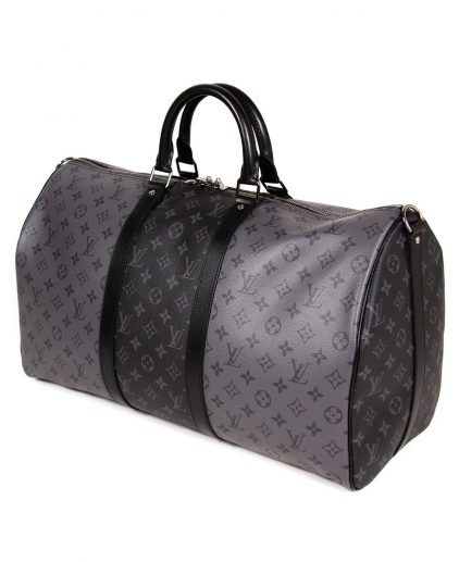 Louis Vuitton Black Grey Monogram Eclipse Keepall Bandouliere 50