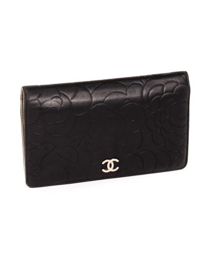 Chanel Black Embossed Leather Camellia Bifold Flap Wallet