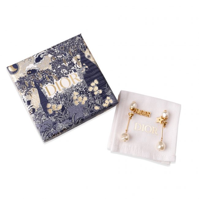 Christian Dior Gold Tone Faux Pearl J'adior Earrings