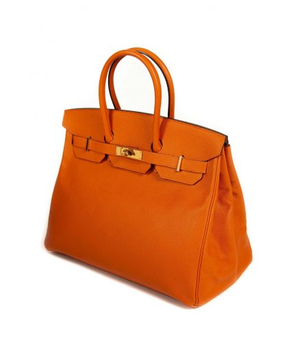 Hermes Feu D'Orange Epsom Leather Gold Hardware Birkin 35 Handbag