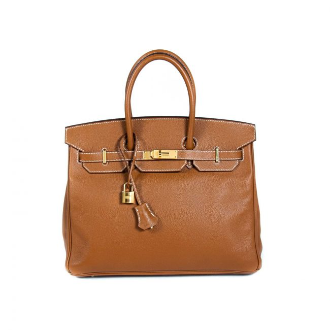 Hermes Gold Epsom Leather Gold Hardware Birkin 35 Handbag