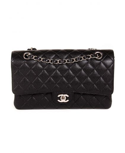 Chanel Black Quilted Caviar Leather Medium Double Flap Bag