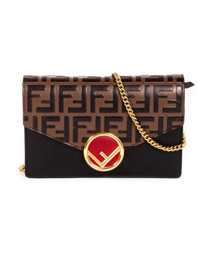 Fendi Black Brown Calf Leather FF Logo Wallet On Chain