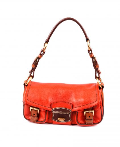 Prada Orange Leather Shoulder Handbag