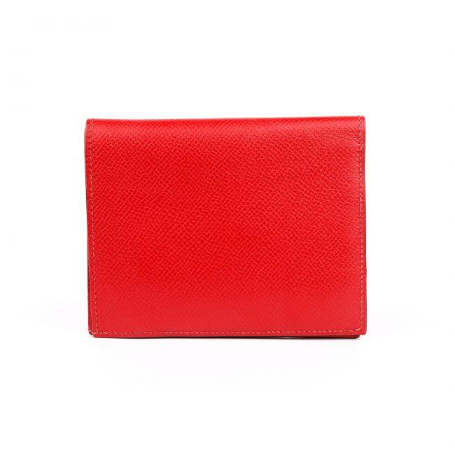 Hermes Red Evergrain Calfskin Leather Bi Fold Wallet