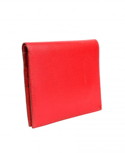 Hermes Red Evergrain Calfskin Leather Bi Fold Wallet