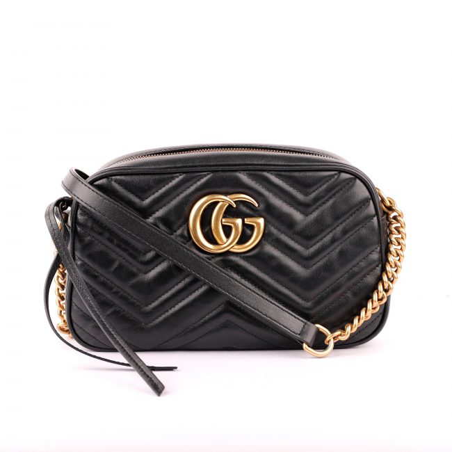 Gucci Black Matelasse Leather Marmont Crossbody Bag