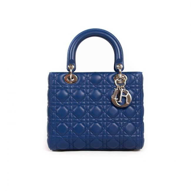 Dior Blue Quilted Cannage Leather Medium Lady Dior Tote