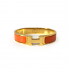 Hermes Clic Clac H Orange Enamel Gold Plated Narrow Bracelet