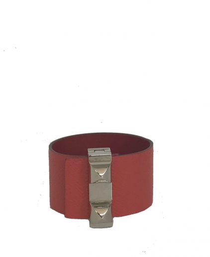 Hermes Rose Jaipur Epsom Leather Wide Collier De Bracelet