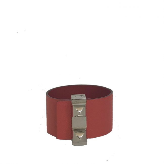 Hermes Rose Jaipur Epsom Leather Wide Collier De Bracelet