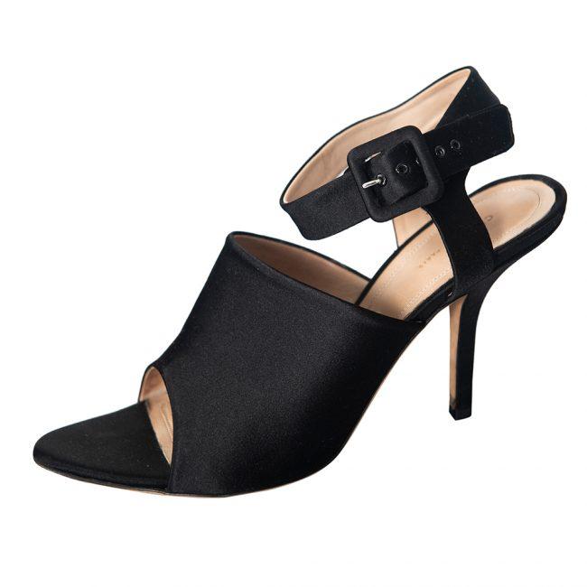 Celine Black Leather Ankle Strap Heel Sandals Size 37