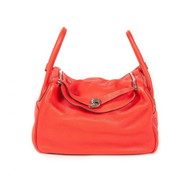 Hermes Rouge Pivoine Clemence Leather Palladium Hardware Lindy 34 Bag