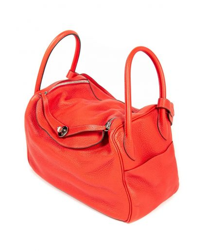 Hermes Rouge Pivoine Clemence Leather Palladium Hardware Lindy 34 Bag