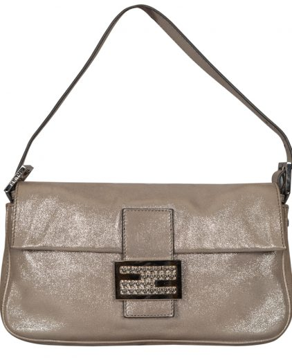 Fendi Silver Metallic Leather Crystal Embellished Baguette Shoulder Bag