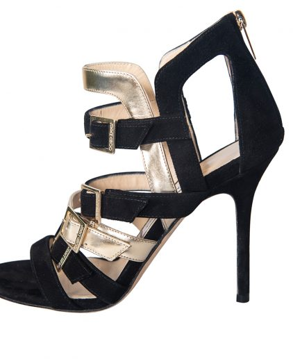 Jimmy Choo Black Suede Leather Multi Strap Pumps Size 38