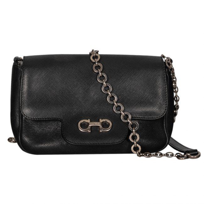 Salvatore Ferragamo Black Leather Shoulder Handbag