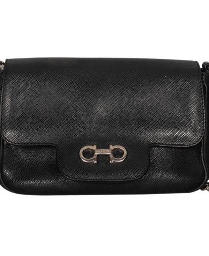 Salvatore Ferragamo Black Leather Shoulder Handbag