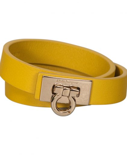 Salvatore Ferragamo Yellow Leather Gancini Lock Double Wrap Bracelet