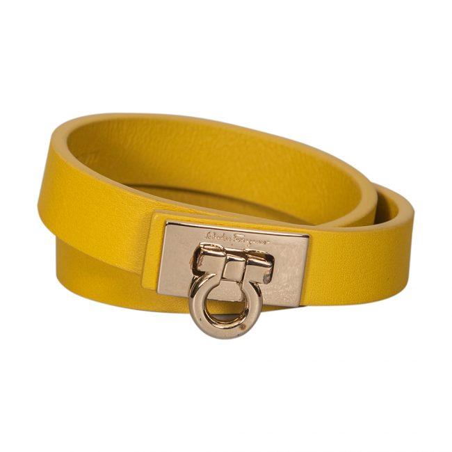 Salvatore Ferragamo Yellow Leather Gancini Lock Double Wrap Bracelet