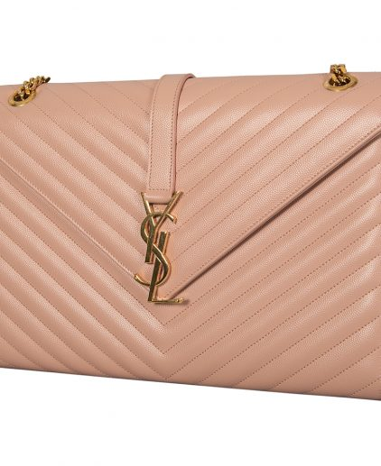 Saint Laurent Beige Chevron Quilted Leather Monogram Envelope Shoulder Bag