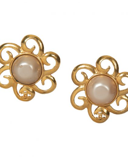 Chanel Gold Tone Faux Pearl Clip On Earrings