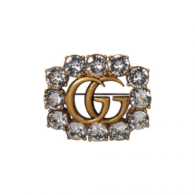 Gucci Double G Crystal Embellished Brooch