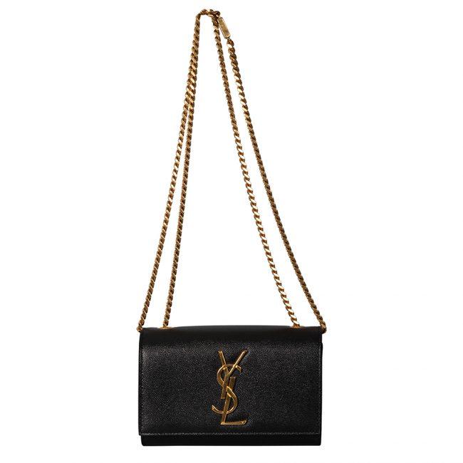 Saint Laurent Black Leather Small Monogram Kate Shoulder Bag