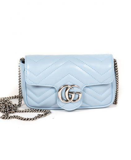 Gucci Light Blue GG Marmont Super Mini Shoulder Bag