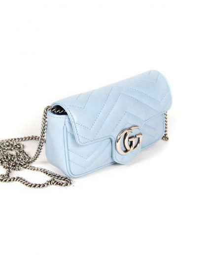 Gucci Light Blue GG Marmont Super Mini Shoulder Bag