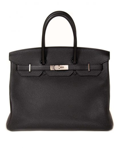 Hermes Black Togo Leather Palladium Hardware Birkin 35 Bag