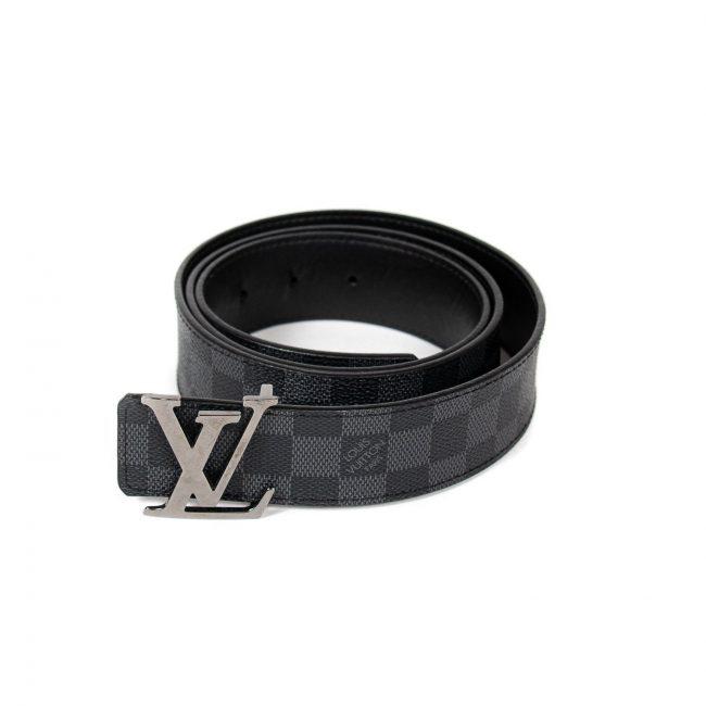 Louis Vuitton Damier Ebene Graphite Canvas Initials Belt 115Cm