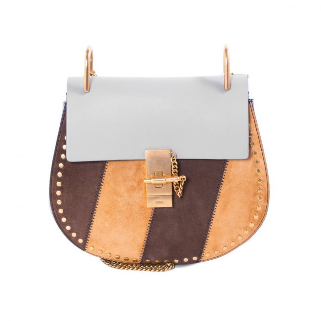 Chloe Multicolor Leather Suede Small Drew Shoulder Bag