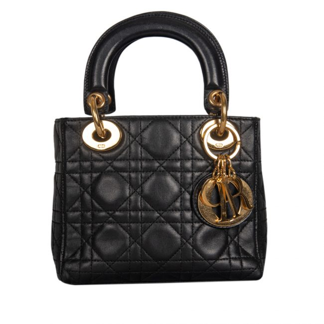 Dior Black Cannage Leather Mini Lady Dior Tote