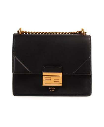 Fendi Black Leather Small Kan U Handbag