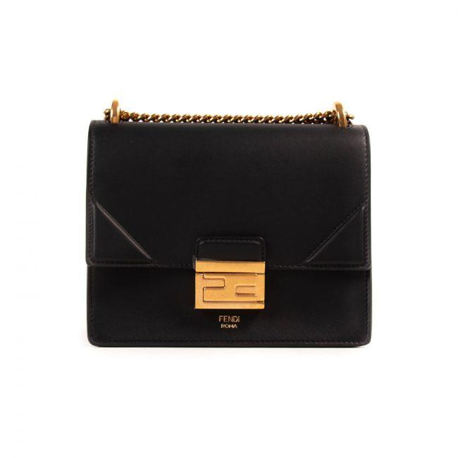 Fendi Black Leather Small Kan U Handbag