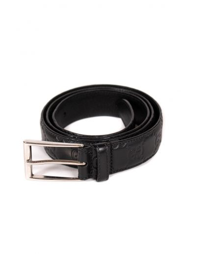 Gucci Black Leather Guccissima Belt 95CM
