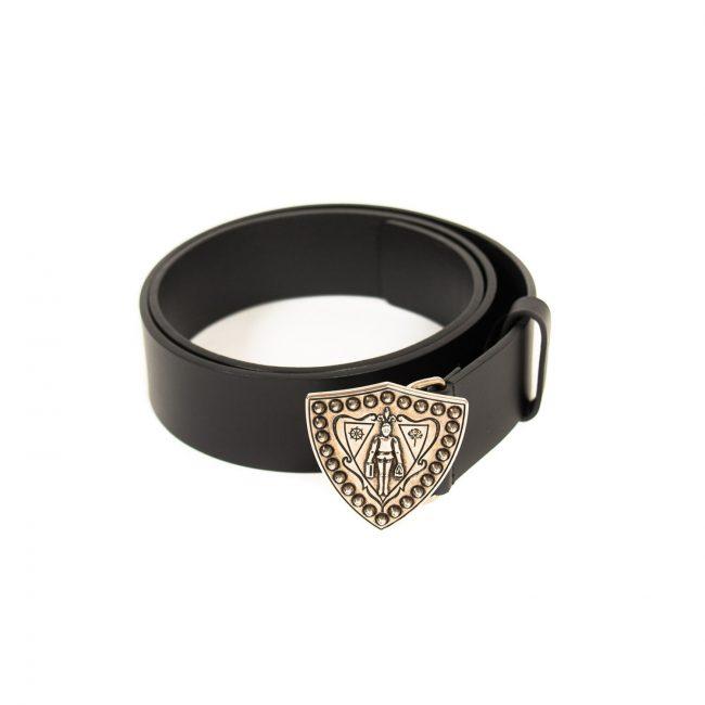 Gucci Black Leather Metal Shield Belt 90CM