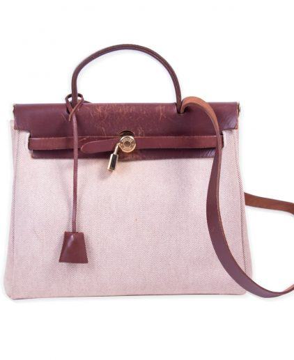 Hermes Chocolate Brown Beige Toile Leather Herbag 31 Bag