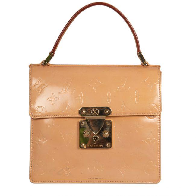 Louis Vuitton Vintage Beige Patent Small Top Handle Bag