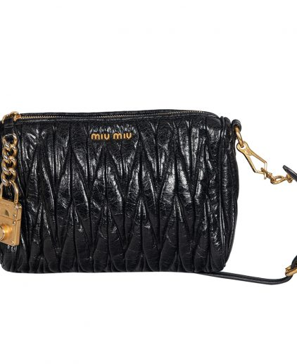 Miu Miu Black Matelassé Leather Shoulder Bag