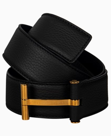 Tom Ford Black Leather T Buckle Belt 90CM